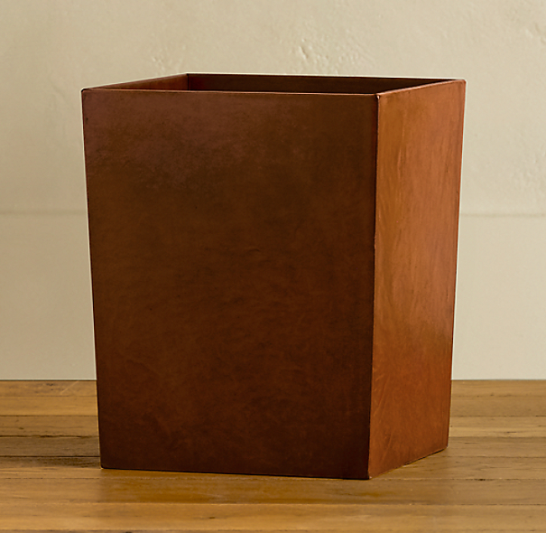 Artisan Leather Waste Basket Chestnut