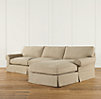 "129"" Grand-Scale Roll Arm Slipcovered Right-Arm Sofa Chaise Sectional"