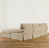 Grand-Scale Roll Arm Slipcovered Right-Arm Sofa Chaise Sectional