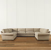 Grand-Scale Roll Arm Upholstered U-Sofa Sectional