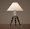 Royal Marine Tripod Table Lamp Polished Aluminum and Black