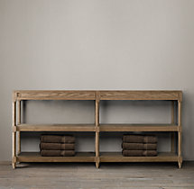 Weathered Oak Double Washstand Base