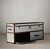 Mayfair Steamer Media Trunk Brushed Steel