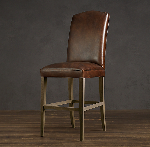 Hudson Camelback Leather Barstool