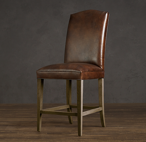Hudson Camelback Leather Counter Stool