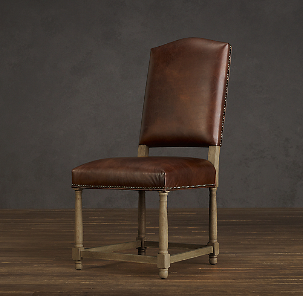 Empire Camelback Leather Side Chair