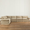 Grand-Scale Roll Arm Slipcovered L-Sectional