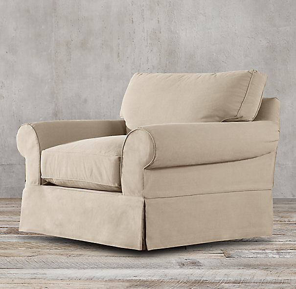Grand-Scale Roll Arm Slipcovered Chair