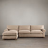 Grand-Scale Roll Arm Upholstered Left-Arm Sofa Chaise Sectional