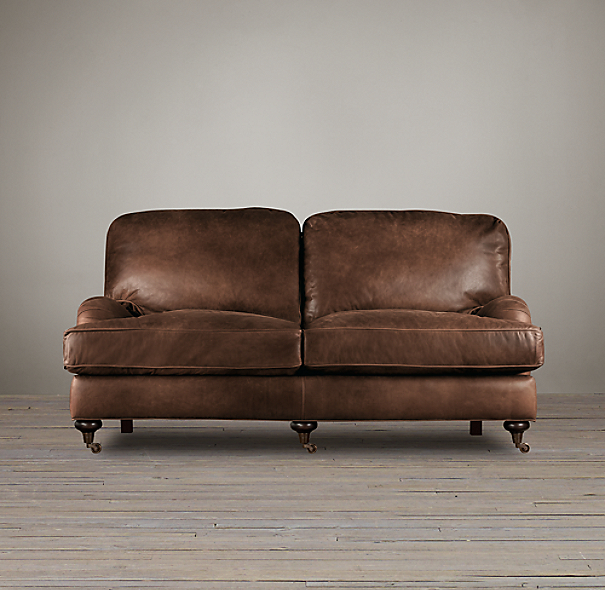 6' English Roll Arm Leather Sofa
