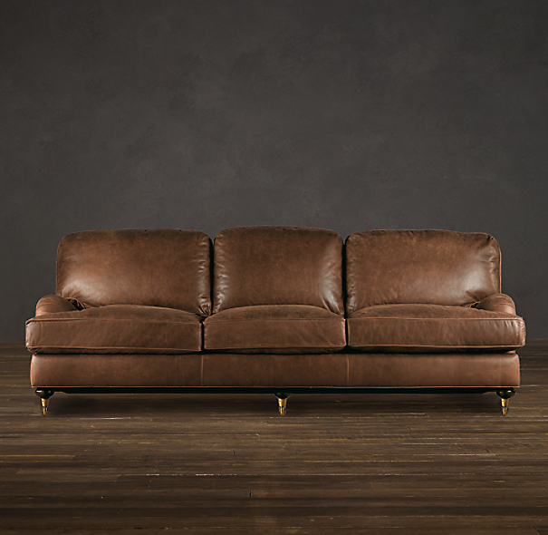 English Roll Arm Leather Sofas