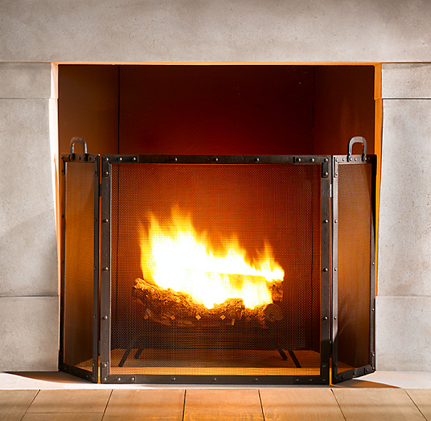 Rivet Hearth Flat Tri-Panel Screen