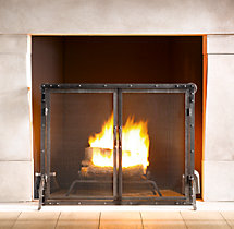 Rivet Hearth Flat Screen with Doors and Tools