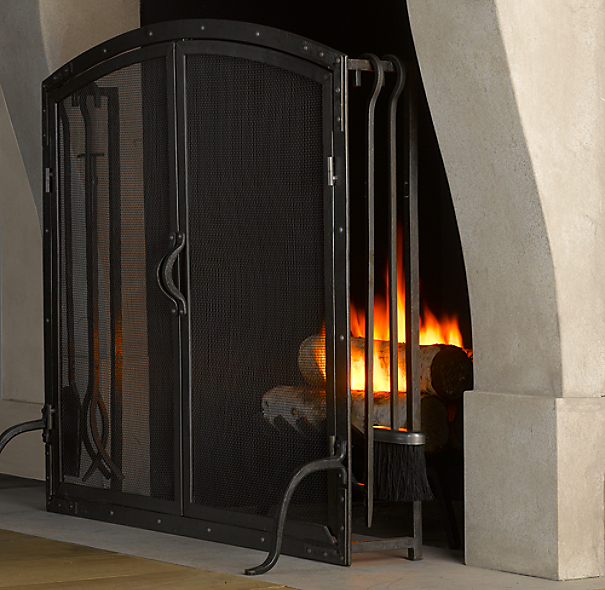 Rivet Hearth Arched Screen with Doors and Tools