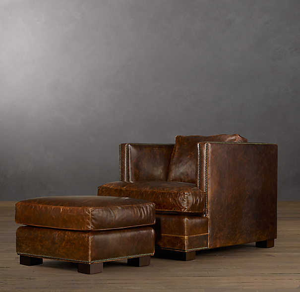 Easton Leather Ottoman