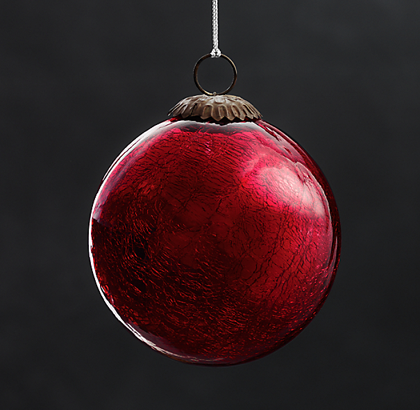 Vintage Hand-Blown Glass Ornament Ball - Red