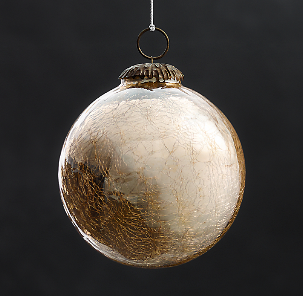 Vintage Hand-Blown Glass Ornament Ball - Gold