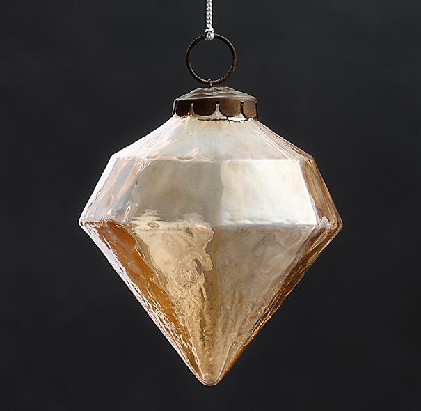 Vintage Hand-Blown Glass Ornament Octagon - Gold