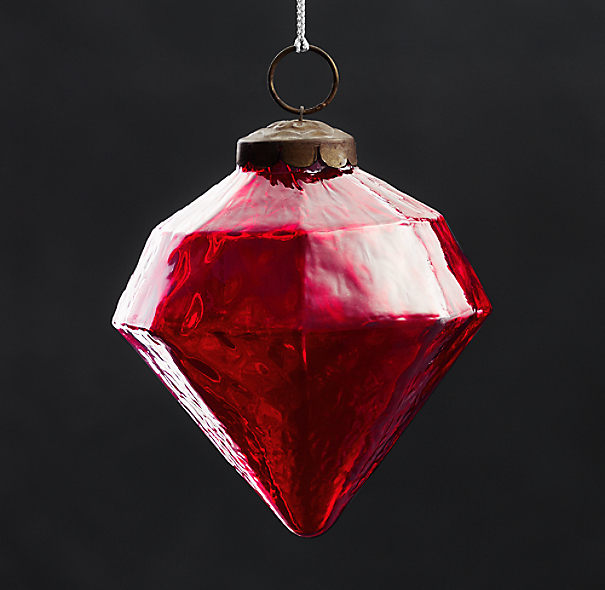 Vintage Hand-Blown Glass Ornament Octagon - Red