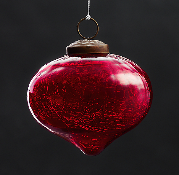 Vintage Hand-Blown Glass Ornament Onion - Red