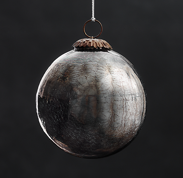 Vintage Hand-Blown Glass Ornament Ball - Smoke