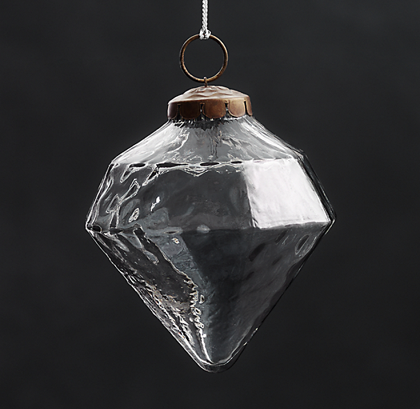 Vintage Hand-Blown Glass Ornament Octagon - Smoke