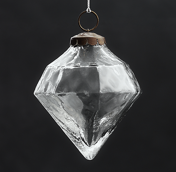 Vintage Hand-Blown Glass Ornament Octagon - Silver