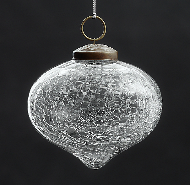 Vintage Hand-Blown Glass Ornament Onion - Silver