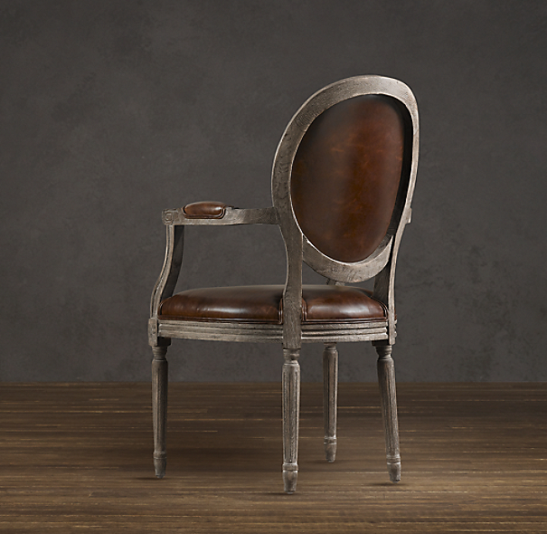Vintage French Round Leather Armchair