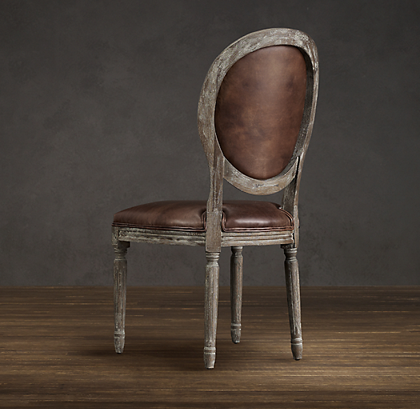 Vintage French Round Leather Side Chair