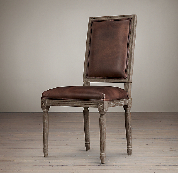 Vintage French Square Leather Side Chair