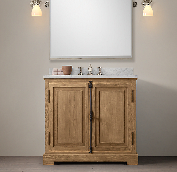 French Casement Oak Single Vanity Sink
