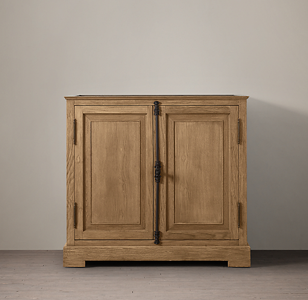 French Casement Oak Single Vanity Sink Base