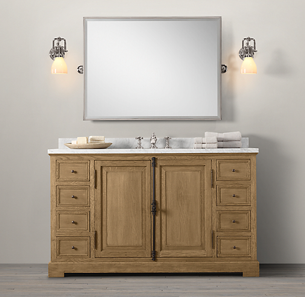 French Casement Oak Extra-Wide Single Vanity Sink