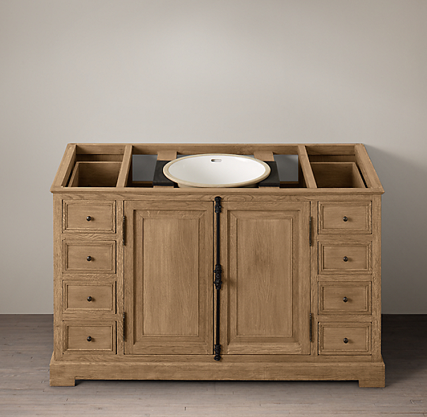 French Casement Oak Extra-Wide Single Vanity Sink Base