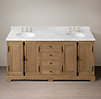 French Casement Oak Double Vanity Sink