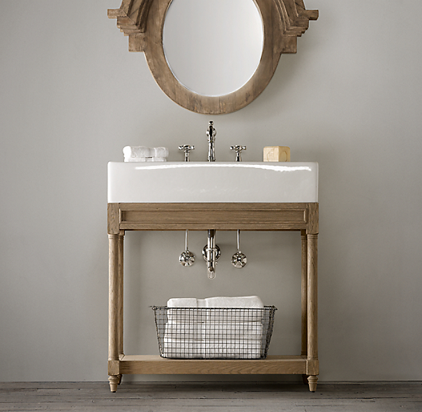 Benedetina sink console weathered wood single for Single sink consoles bathroom