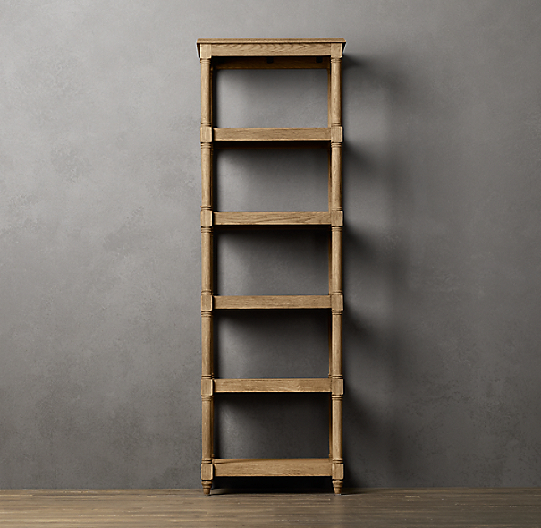 Weathered Oak Étagère Tall Black Oak