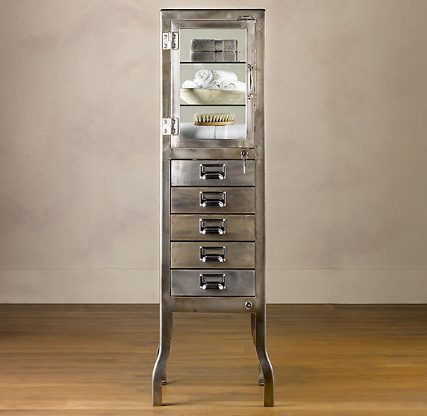 Pharmacy large bath cabinet with drawers burnished steel for Restoration hardware bathroom cabinets