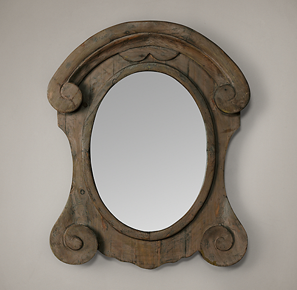 Mansard Scroll Mirror - Natural