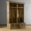 Shutter Weathered Oak 4-Bin Entry Locker