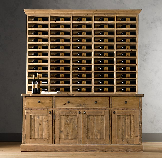Salvaged Wood Vintner's Hutch & Sideboard