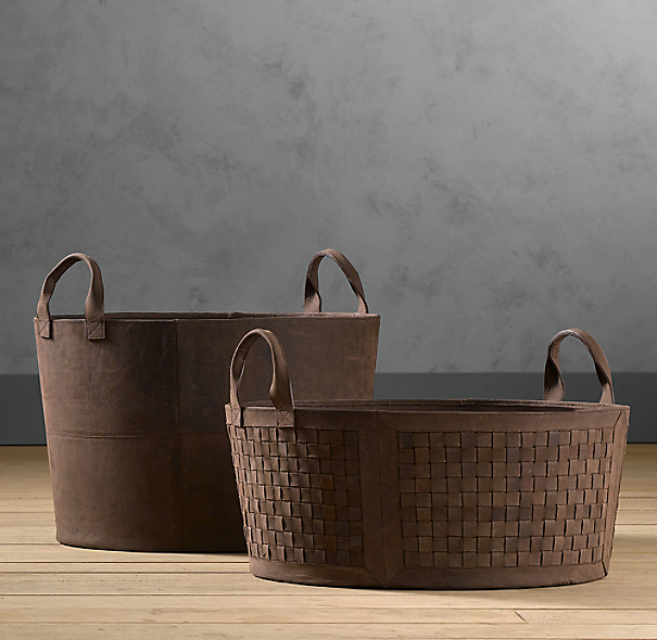 Smooth Leather Storage Tote