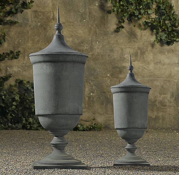Zinc Footed Urns