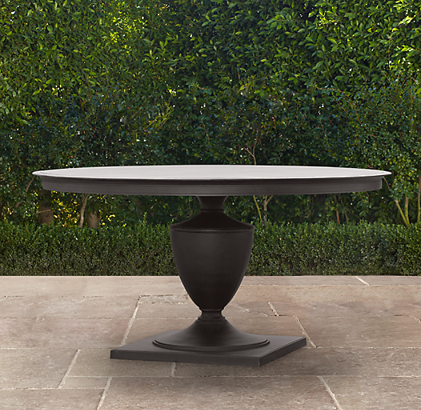 "60"" Klismos Round Dining Table Painted Metal"