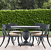 "48"" Klismos Round Dining Set Painted Metal (Set of Table and 4 Side Chairs)"