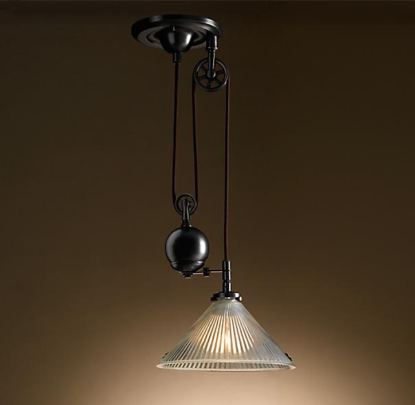 industrial pulley single pendant. Black Bedroom Furniture Sets. Home Design Ideas