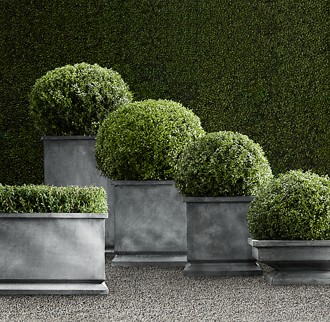 Zinc Footed Planters