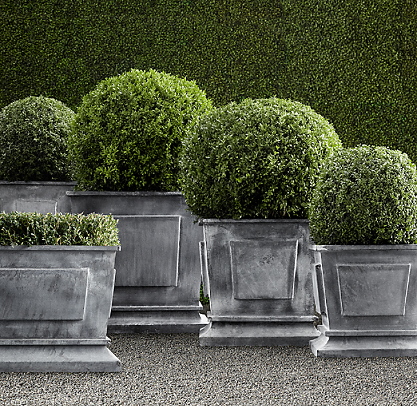 Estate Zinc Paneled Planters