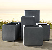 Cube Sheet Metal Planters Weathered Zinc